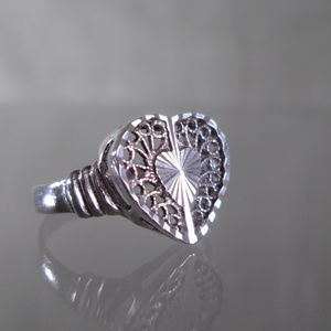 Sterling Silver Filigree Heart Ring Artisan .925
